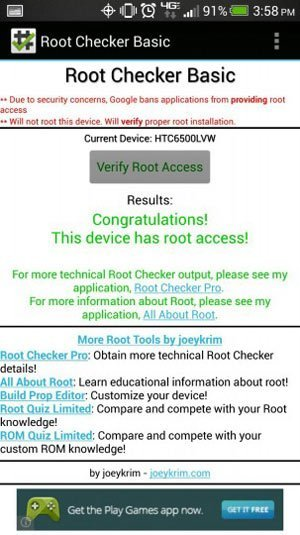 root verizon htc one root check