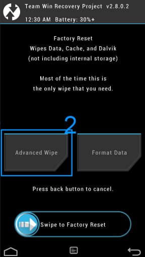 TWRP Advanced Wipe