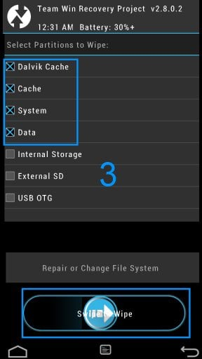 TWRP Wipe all Data