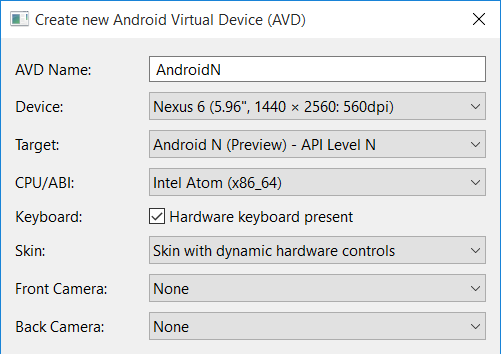 android n create avd