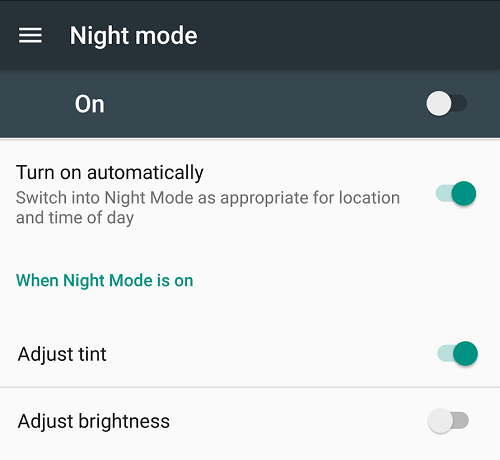 night mode nougat