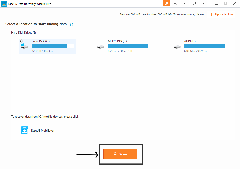 EaseUS Data Recovery Software start scan