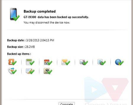 samsung kies device backup complete