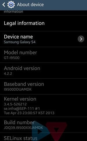 galaxy s4 about device