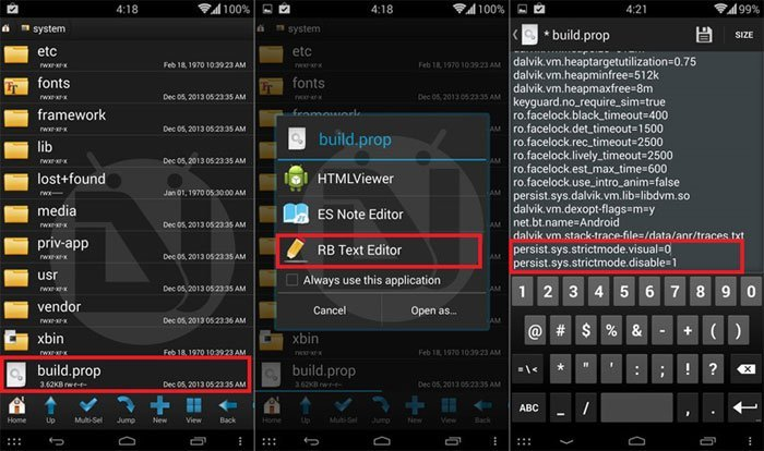 disable strict mode android