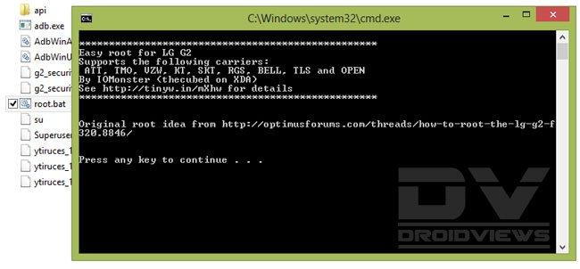 LG G2 Root script cmd window