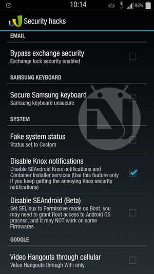 disable knox notifications