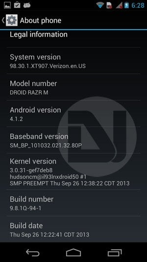 verizon droid razr android 4.1.2