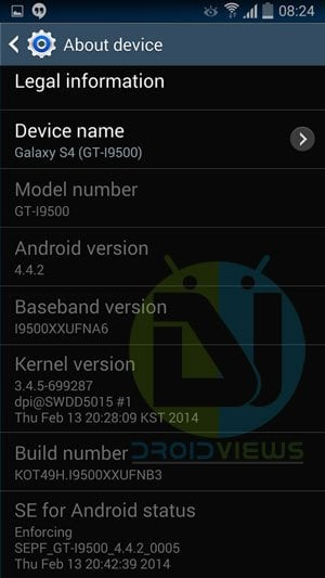 Galaxy S4 GT-I9500 Android 4.4.2