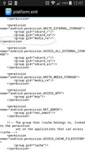 edit platform xml file android