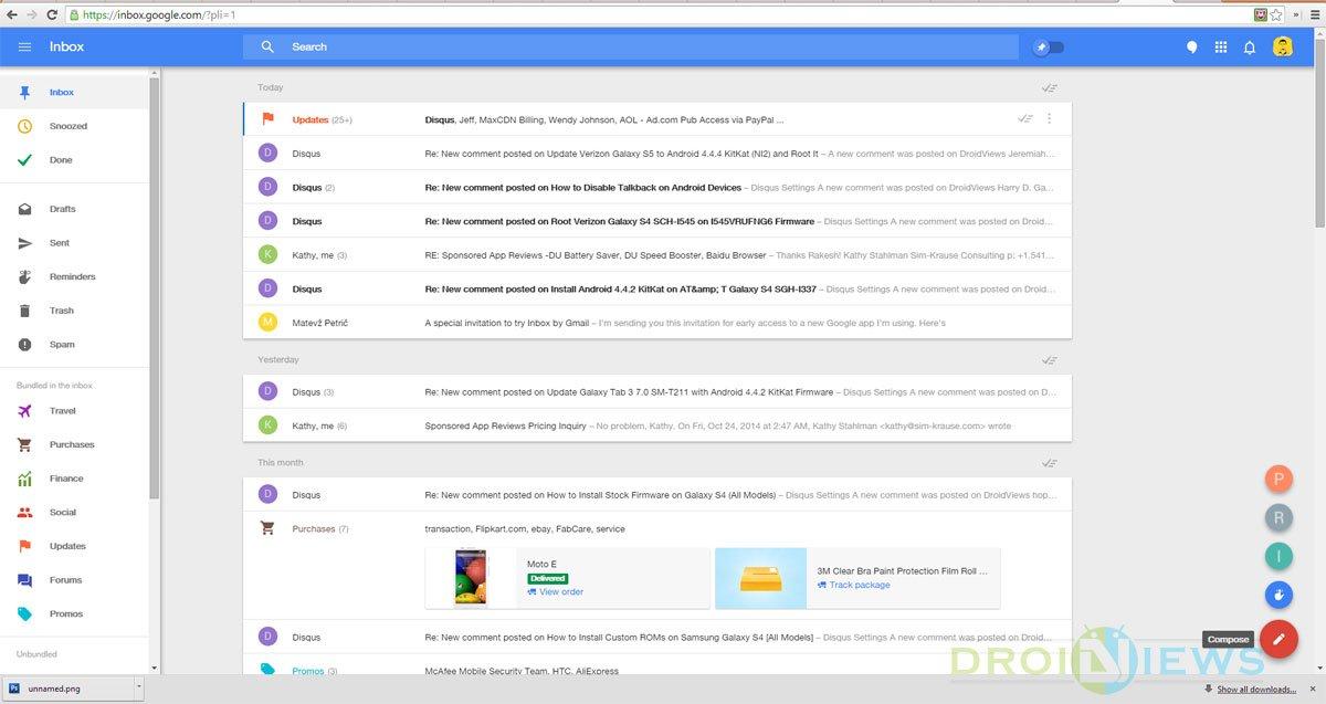 inbox on chrome desktop