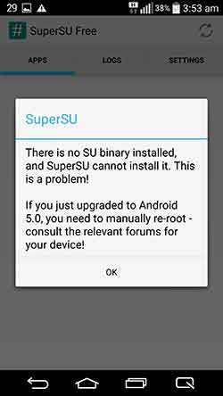 LG G3 Lollipop Root Error