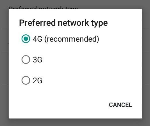 preferred network settings