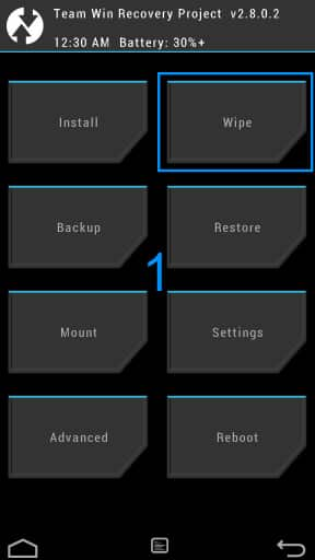 TWRP Wipe Step 1