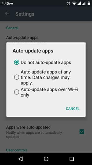 Limiting app updates