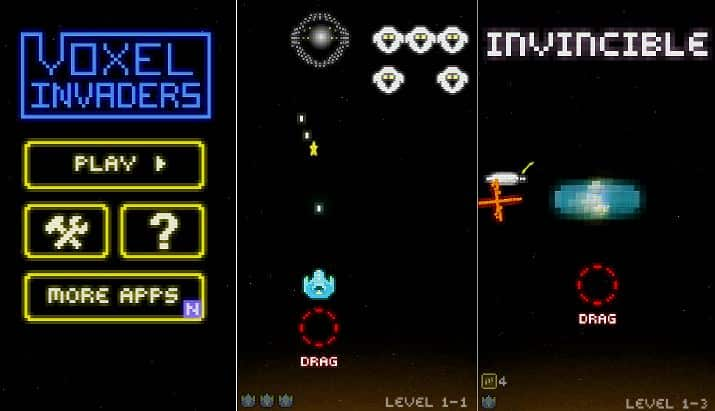 Voxel Invaders game under 10 mb