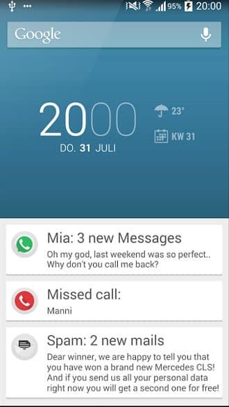 floating notifications on lock screen