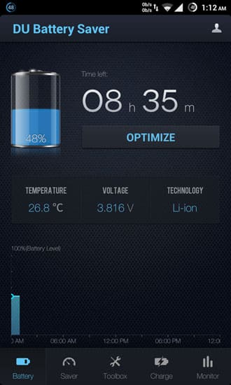 du battery saver optimize battery