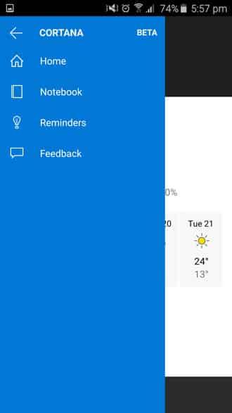 Cortana home