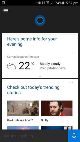cortana information screen