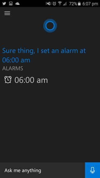 set alarm time in cortana