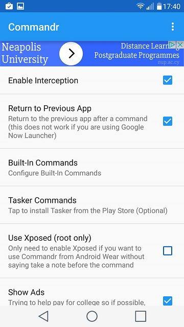 commandr app settings