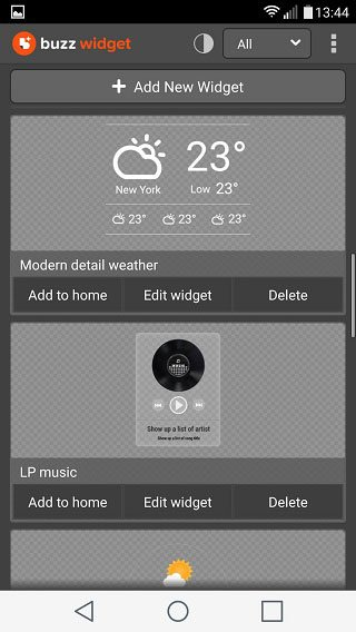 Buzz Widget screen