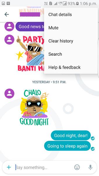 clear history google allo