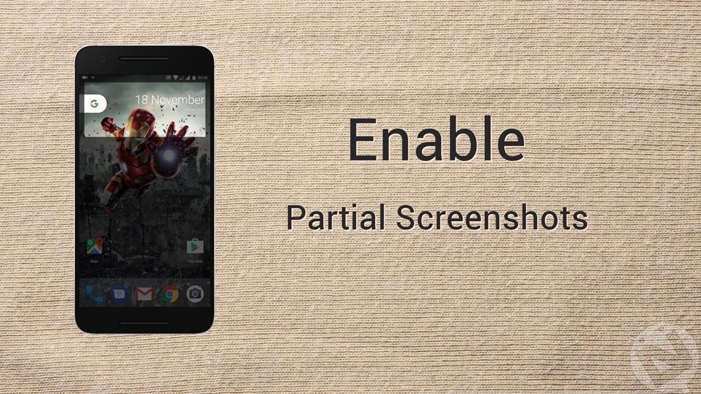 enable partial screenshot