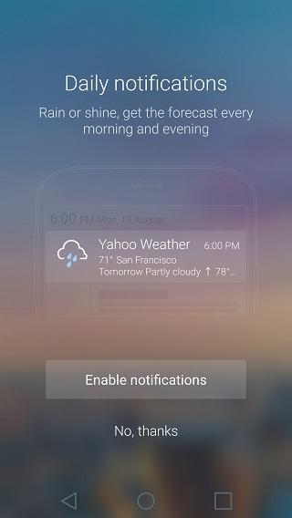 Yahoo Weather notifications