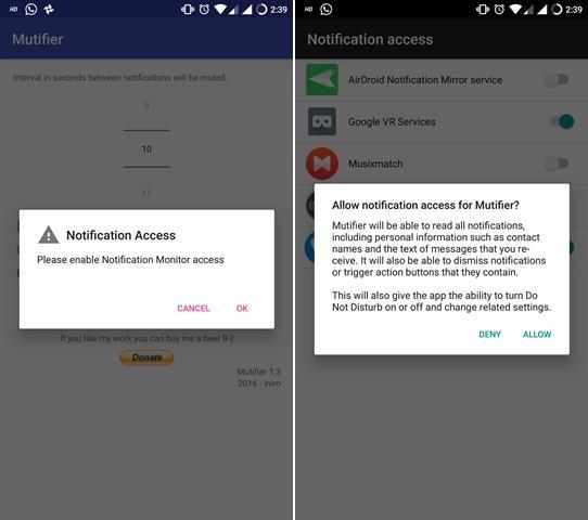 mutifier notification access