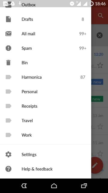 gmail android options menu