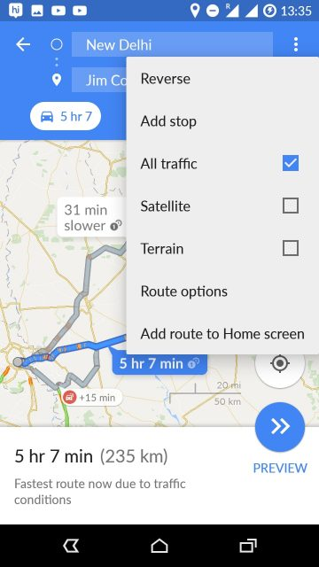 google maps add constraints to navigation