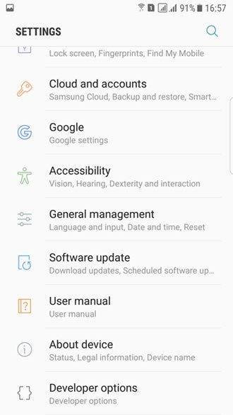 s7 edge nougat settings screen