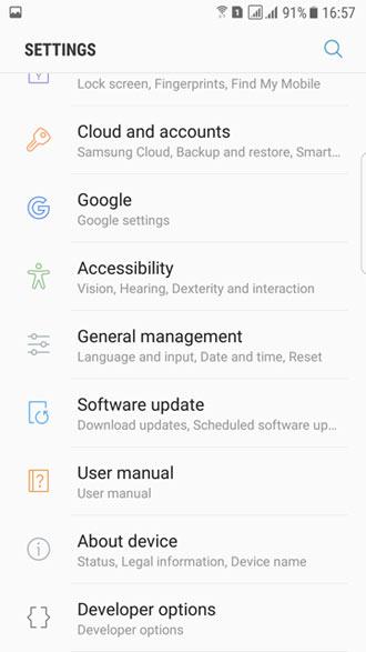 s7 edge nougat settings screen