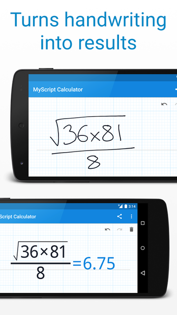 MyScript Calculator handwriting recognition
