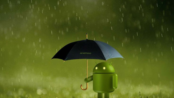 android with umbrella