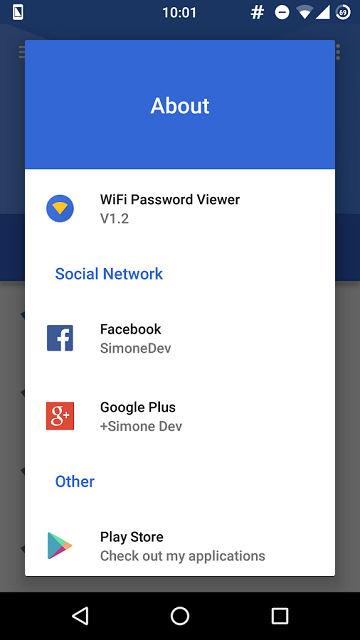 wiifi-password about app screen