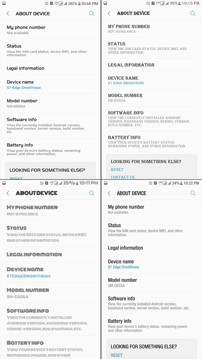 Fonts on Samsung Galaxy Devices