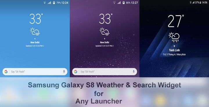 Galaxy S8 Weather Widget and Search Bar