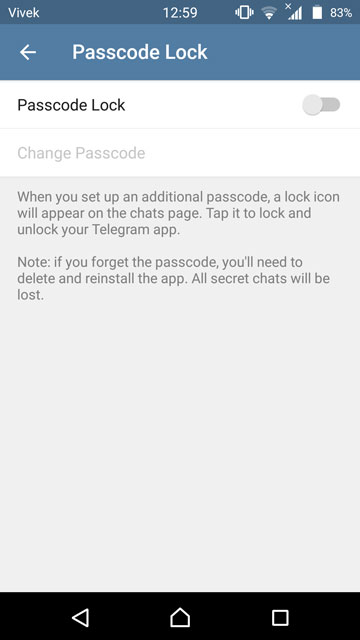Lock your chats in telegram