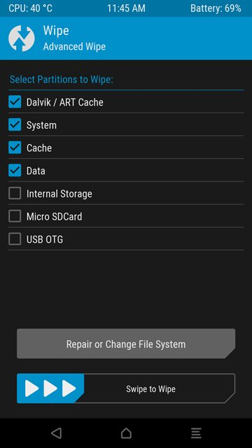 select wipe partitions twrp