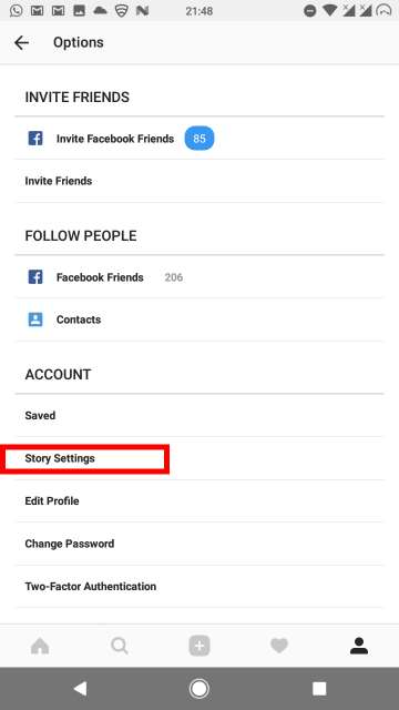 Hide Instagram stories