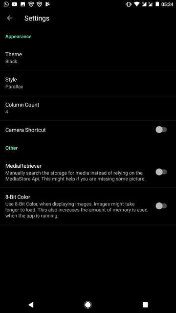 camera roll gallery app settings