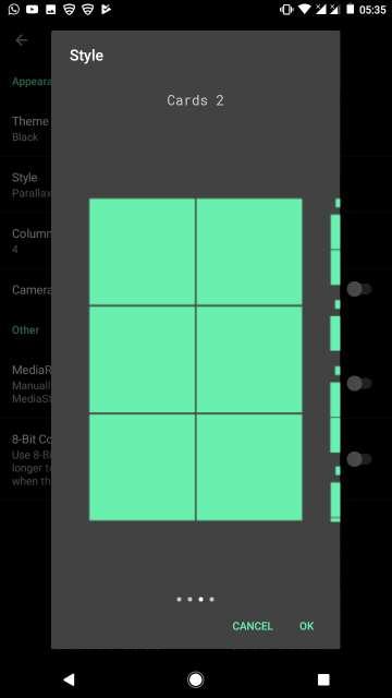 camera roll gallery display styles