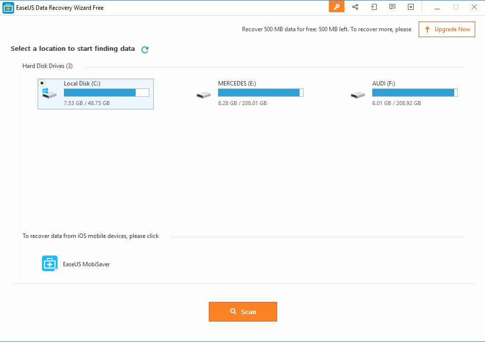 EaseUS Data Recovery Software homescreen