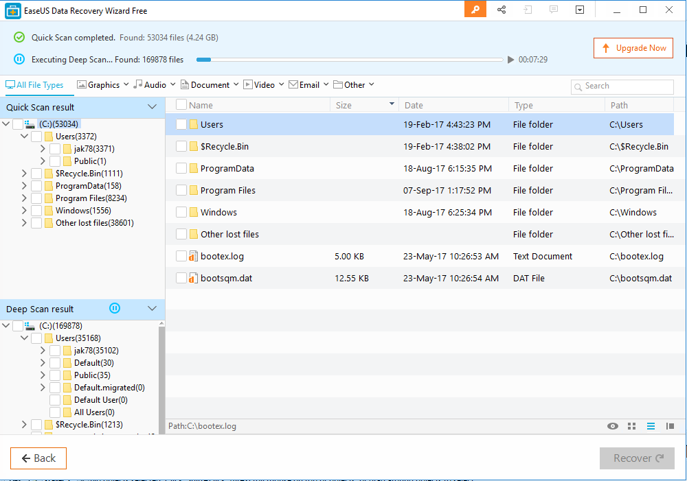 EaseUS Data Recovery Software scan completed