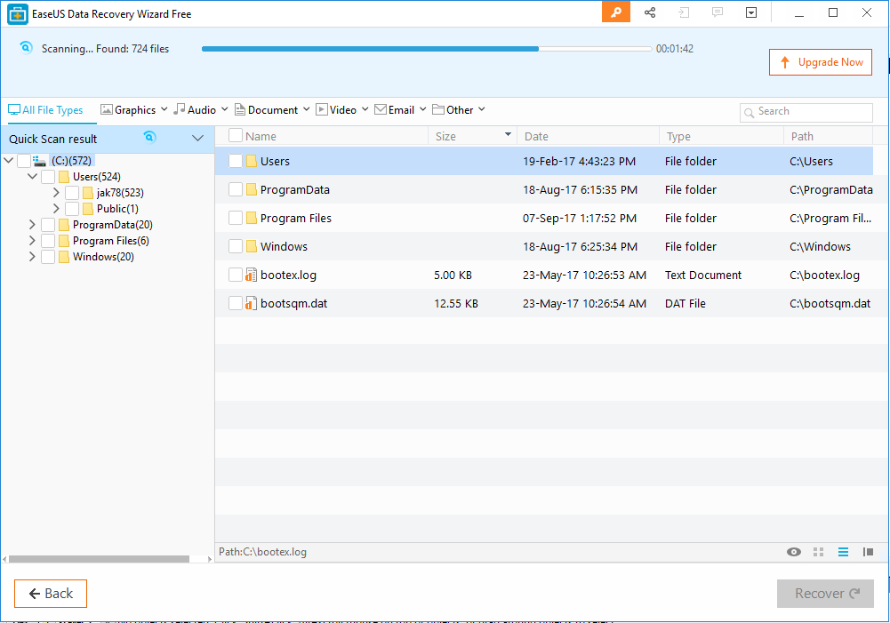 EaseUS Data Recovery Software scan started