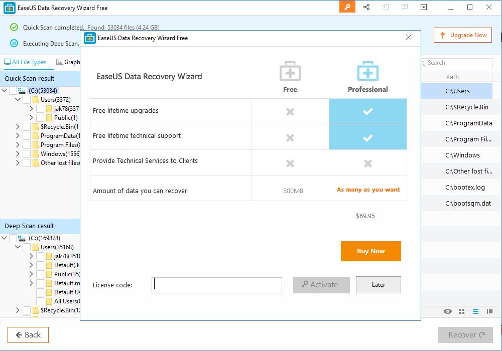 EaseUS Data Recovery Software upgrade plan