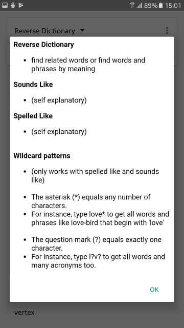 Reverse Dictionary app